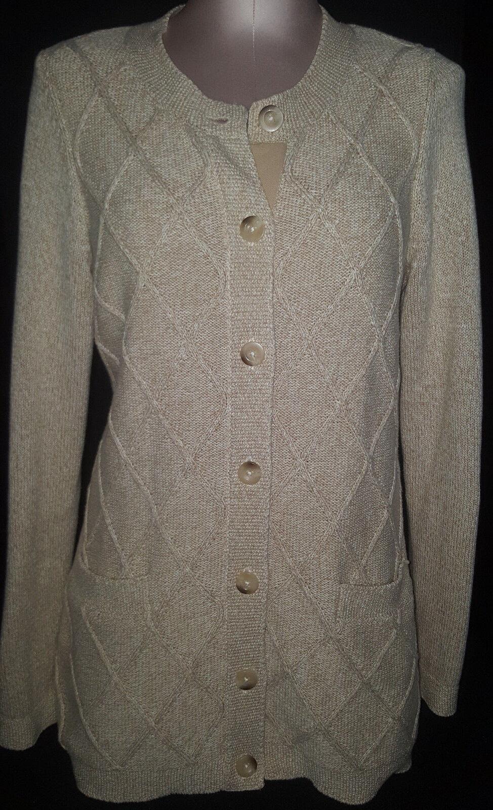 L.L. BEAN Womens Button Front Cardigan Sweater Size Medium Beige Cotton