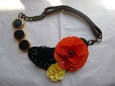 MARNI  COLOURFUL FLOWER STATEMENT BIB NECKLACE LEATHER TIE – NEW DUSTBAG