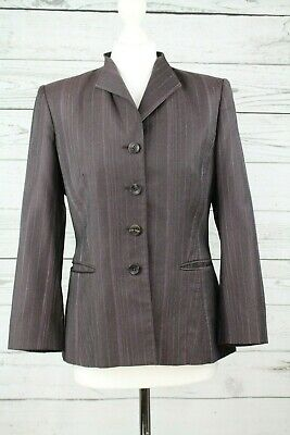 Austin Reed Signature Ladies Tailored Dark Purple Grey Jacket Uk 10 Ebay