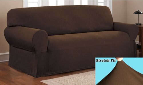 Stretch Form Fit Thick Polyester Spandex Jersey Fabric 2 Pc Sofa Slipcover set