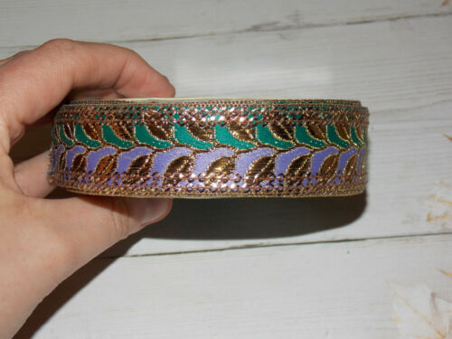 25mm lilac green gold bronze metallic embroidered ribbon applique indian