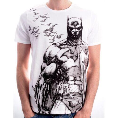 Comics DC Batman Chauve-souris Crayon Croquis Dessin T-shirt blanc neuf avec étiquettes