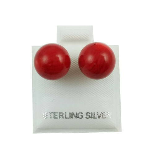 SE469 Sterling Silver 10mm Red Coral Ball Earrings