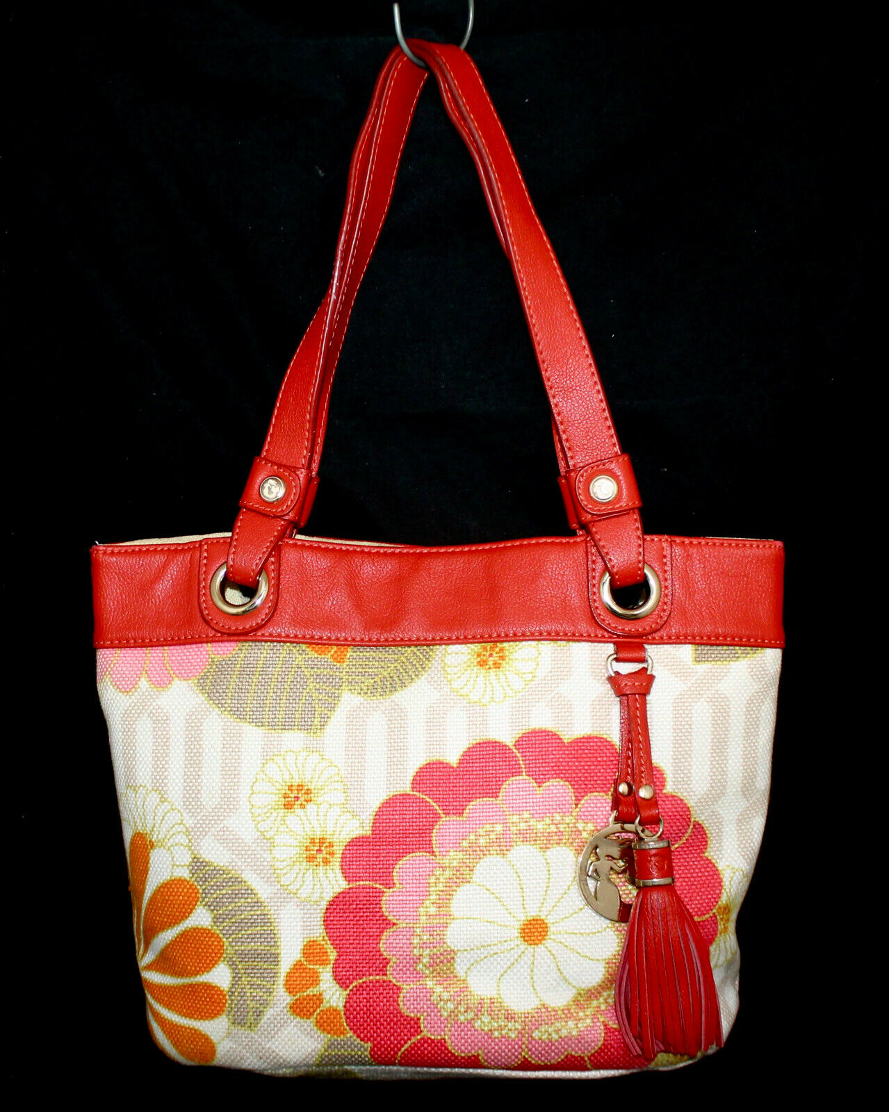 SPARTINA Medium Beige Linen & Leather Tassel Tote Red & Multicolor Floral