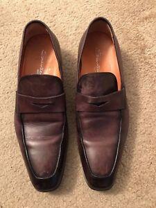 70269a0295 Santoni Brown/Burgundy Leather Penny Loafer - Men's Shoes - Size 8.5 ...