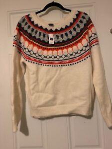 Details about womens sweaters Gap Fairisle White Blue Orange Denver Broncos  NWT