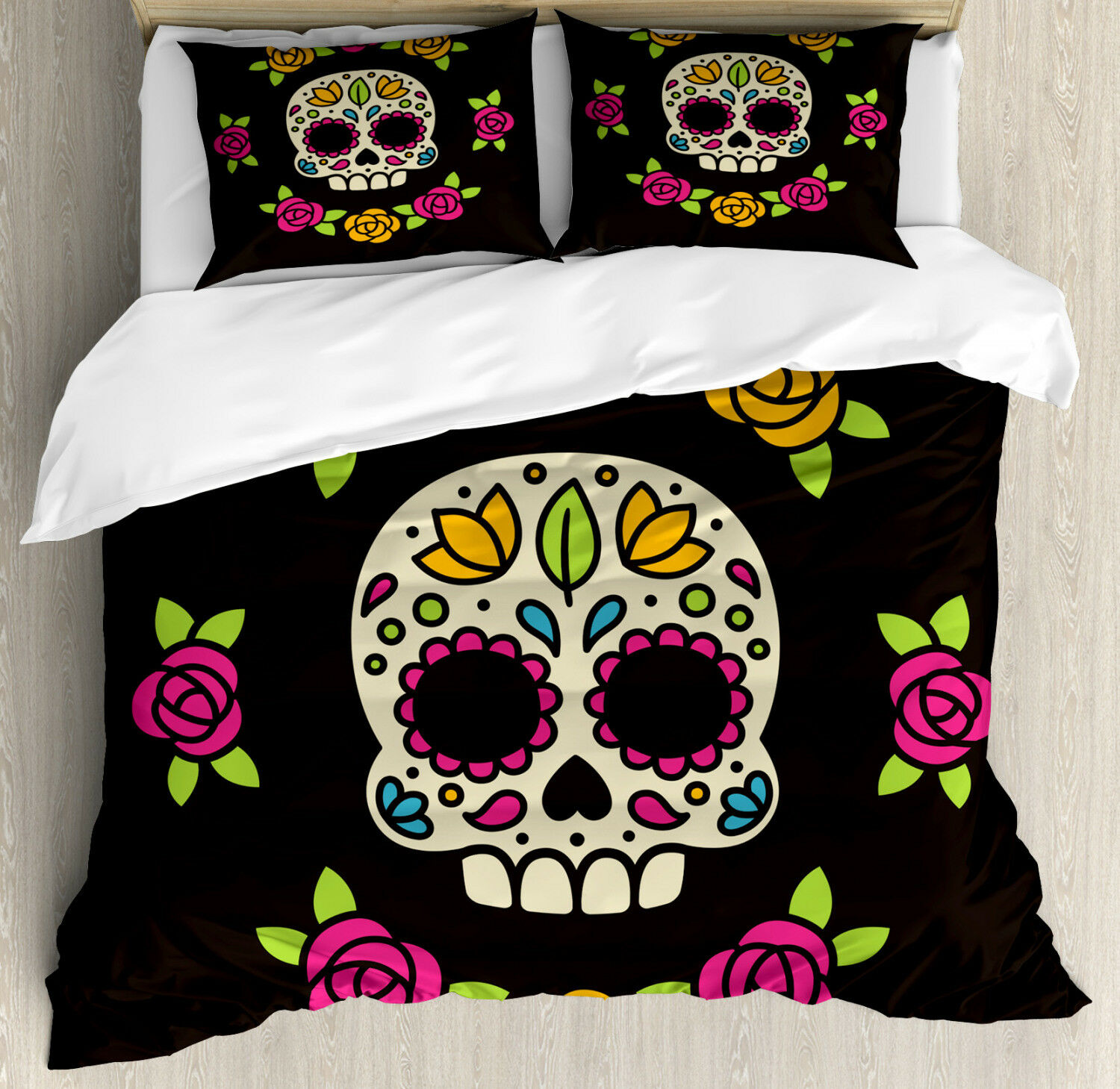 Sugar Skull Duvet Cover Set with Pillow Shams Floral Wreath Skull Print