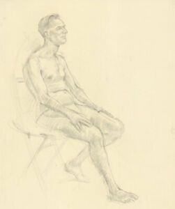 Clifford H. Thompson (1926-2017) - Graphite Drawing, Seated Man I