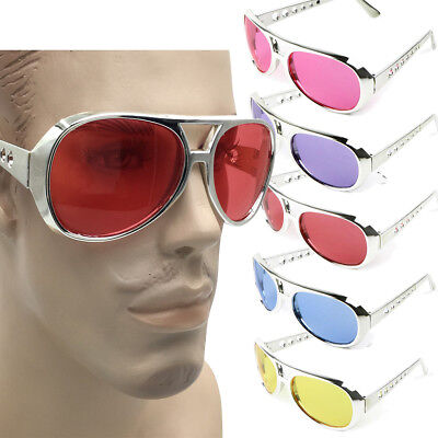 70/'s Elvis Style Costume Sunglasses Silver Plastic Frame W// Red or Purple Lens