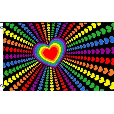 Gay Pride Wedding Flag 3 x 5 Ft Gay Lesbian Rainbow Hearts LGBT