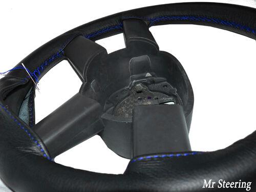 Pour VAUXHALL ASTRA F MK3 véritable cuir noir volant couvercle bleu coutures
