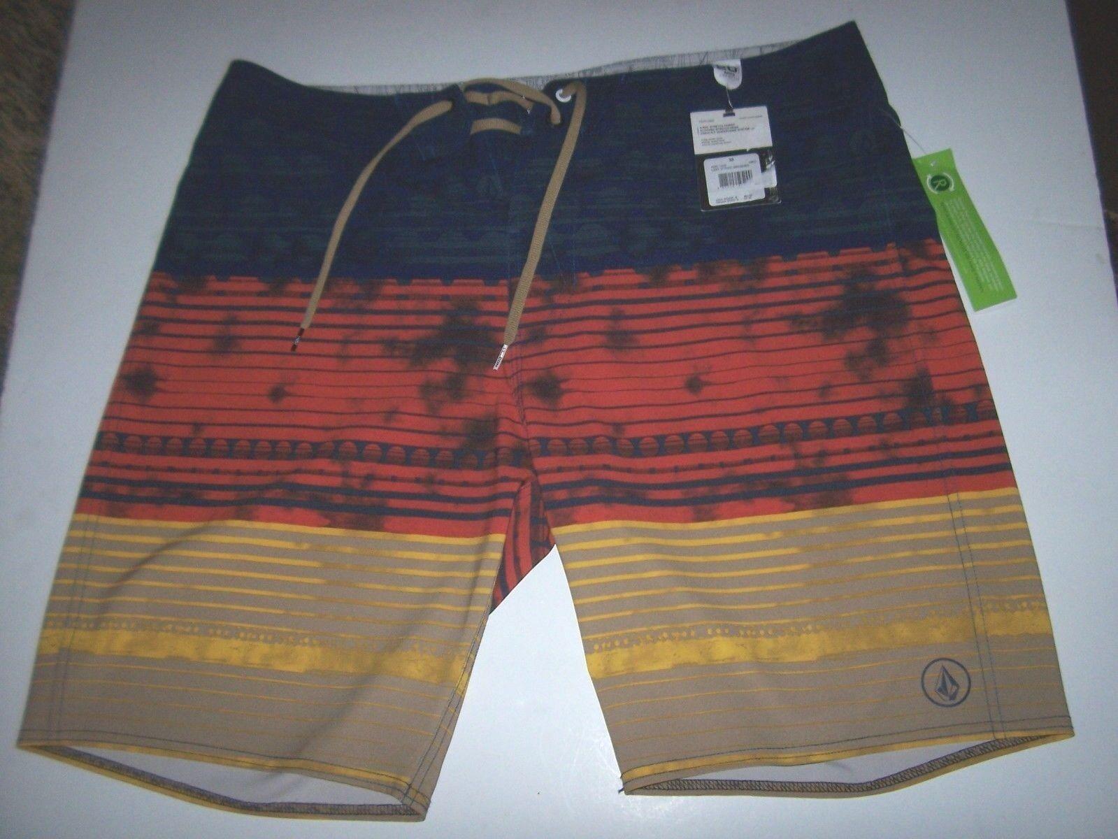 NEW VOLCOM boardshorts board shorts multi color bluee orange swim LIDO 30 34 38
