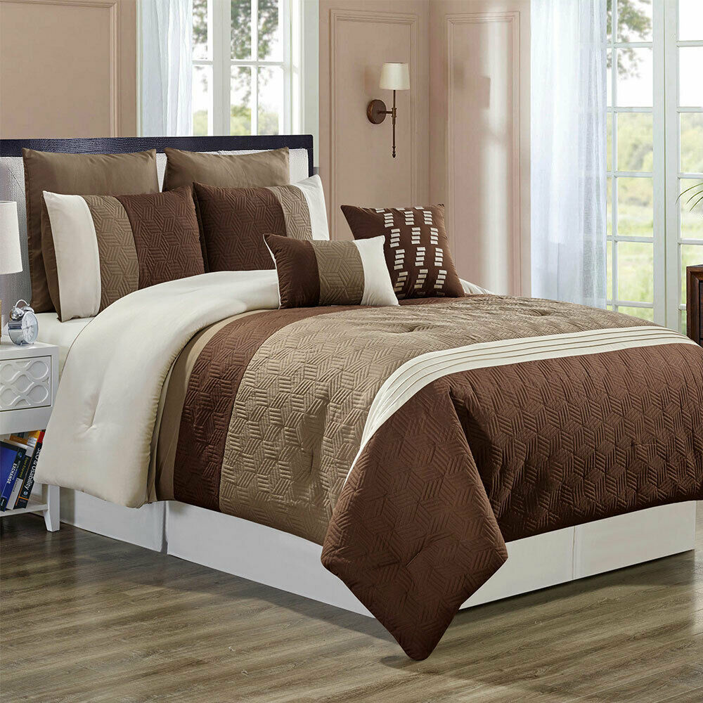 7 Piece Luxury Comforter Set-Taupe braun-(Königin)