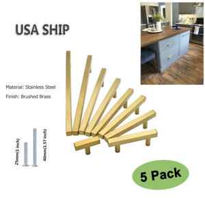 Details about Brass Cabinet Pulls Handles Gold Drawer Pulls Modern Kitchen  Cabinet Hardware