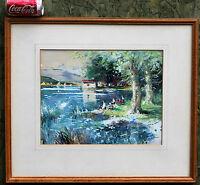 Watercolour Painting Lake Scene Spain Juan De Palau Buixo Listed Artist 1950