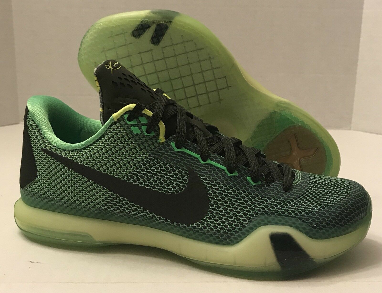 NIKE KOBE BRYANT X 10 BASKETBALL SHOES 705317-333 POISON GREEN (MEN'S 7)