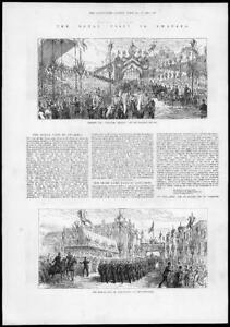 1881-Antique-Print-SWANSEA-ROYAL-Procession-Horses-Soldiers-97