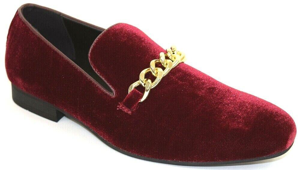 Men's Dress Casual Fancy shoes Velvet Burgundy Slip On Loafers gold Chain Bit