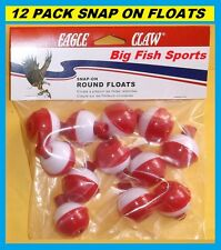 """12 FISHING BOBBERS Round Floats 1"""" RED & WHITE! SNAP ON FREE USA SHIPPING!"""