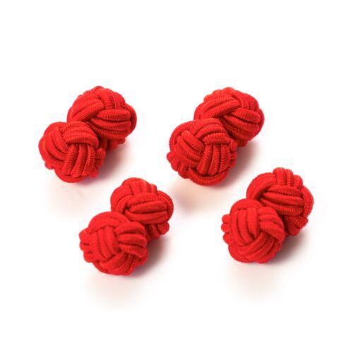 London Gentleman rot 2 Paar Seidenknoten Manschettenknöpfe Stoffknoten