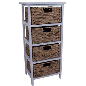 4 Wicker Drawers Chest Unit Bedside, Wicker Bathroom Shelving Units