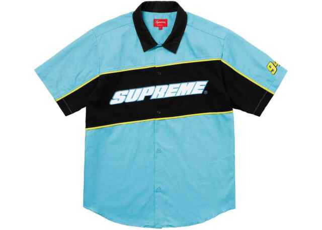 2cb043489df6 Men s Supreme Color Blocked Work Shirt Tee T-shirt Blue Ss18 Large ...