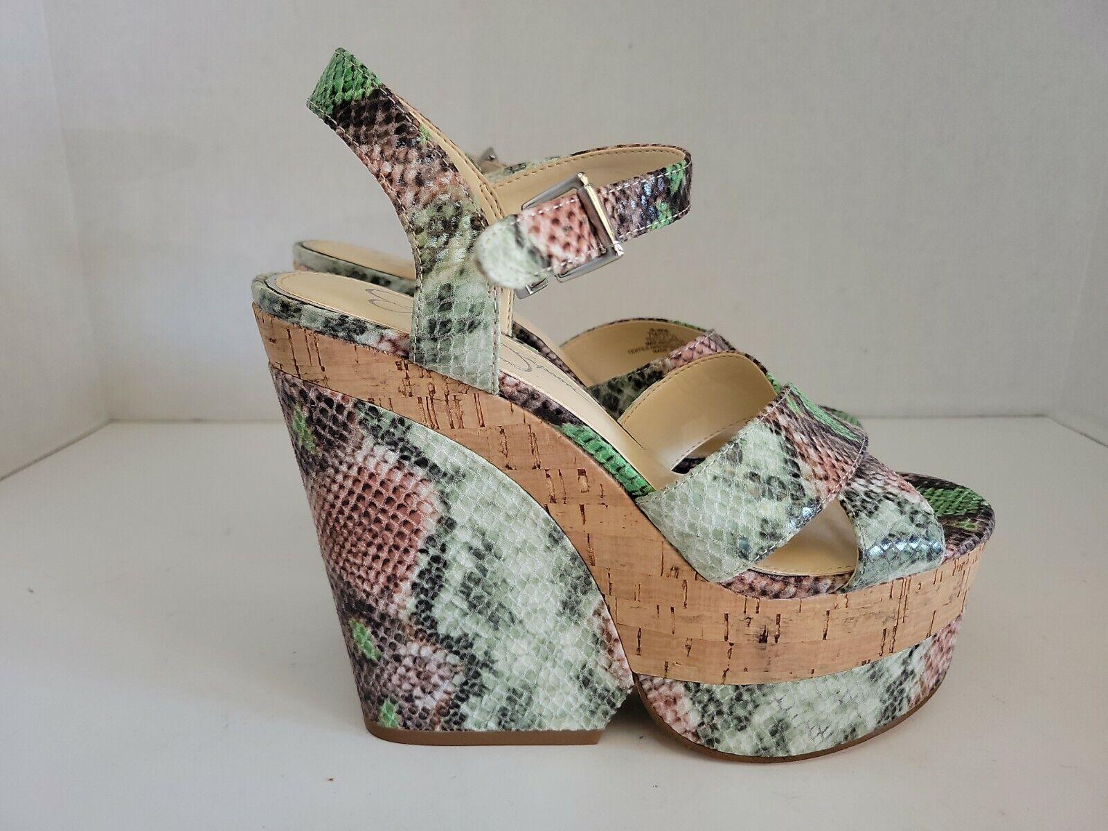 Jessica Simpson JIRIE Snakeskin Print Platform Wedges Size 7, 5.5 in heel, EUC