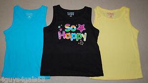 88cf3a6c4 Toddler Girls Tank Tops THREE LOT Yellow Aqua Ribbed BLACK SO HAPPY ...