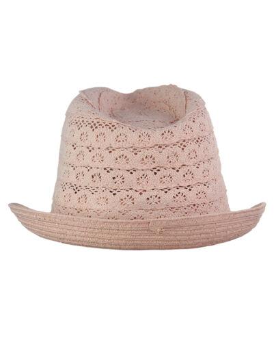 C.C Children/'s Brown Braided Trim Spring Summer Cotton Lace Vented Fedora CC Hat