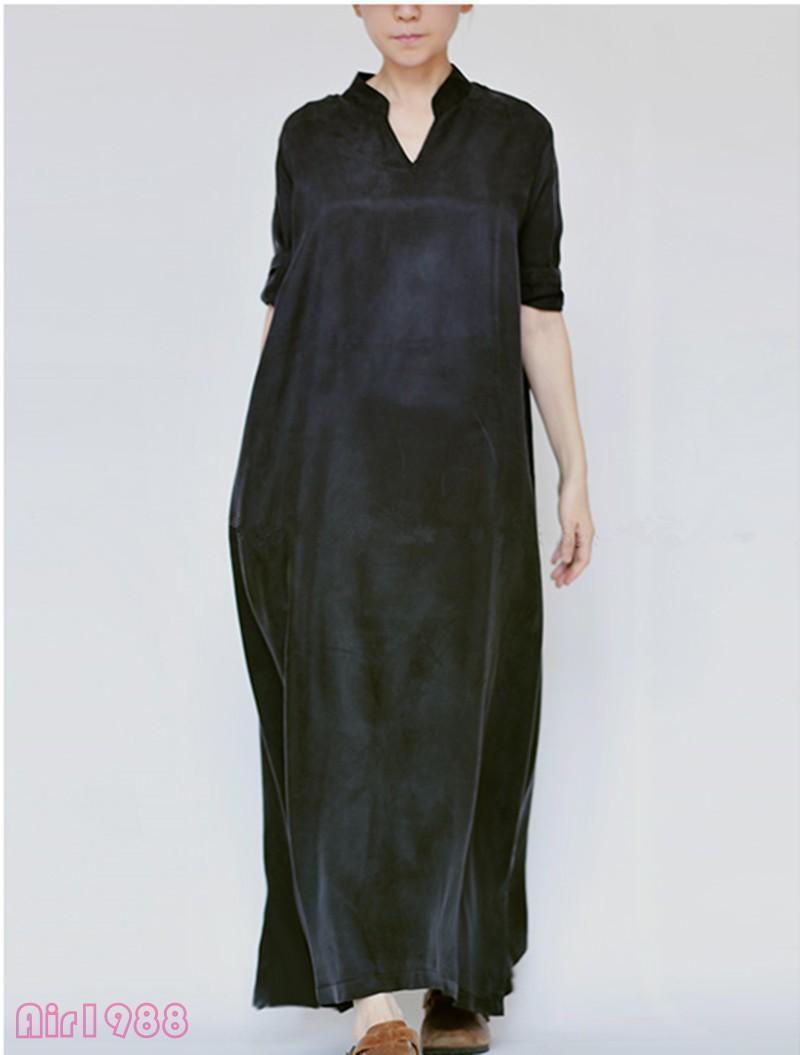 Maxi Silk Blend new sz Womens Long Dress V Collar Casual Caftan Loose Gown New
