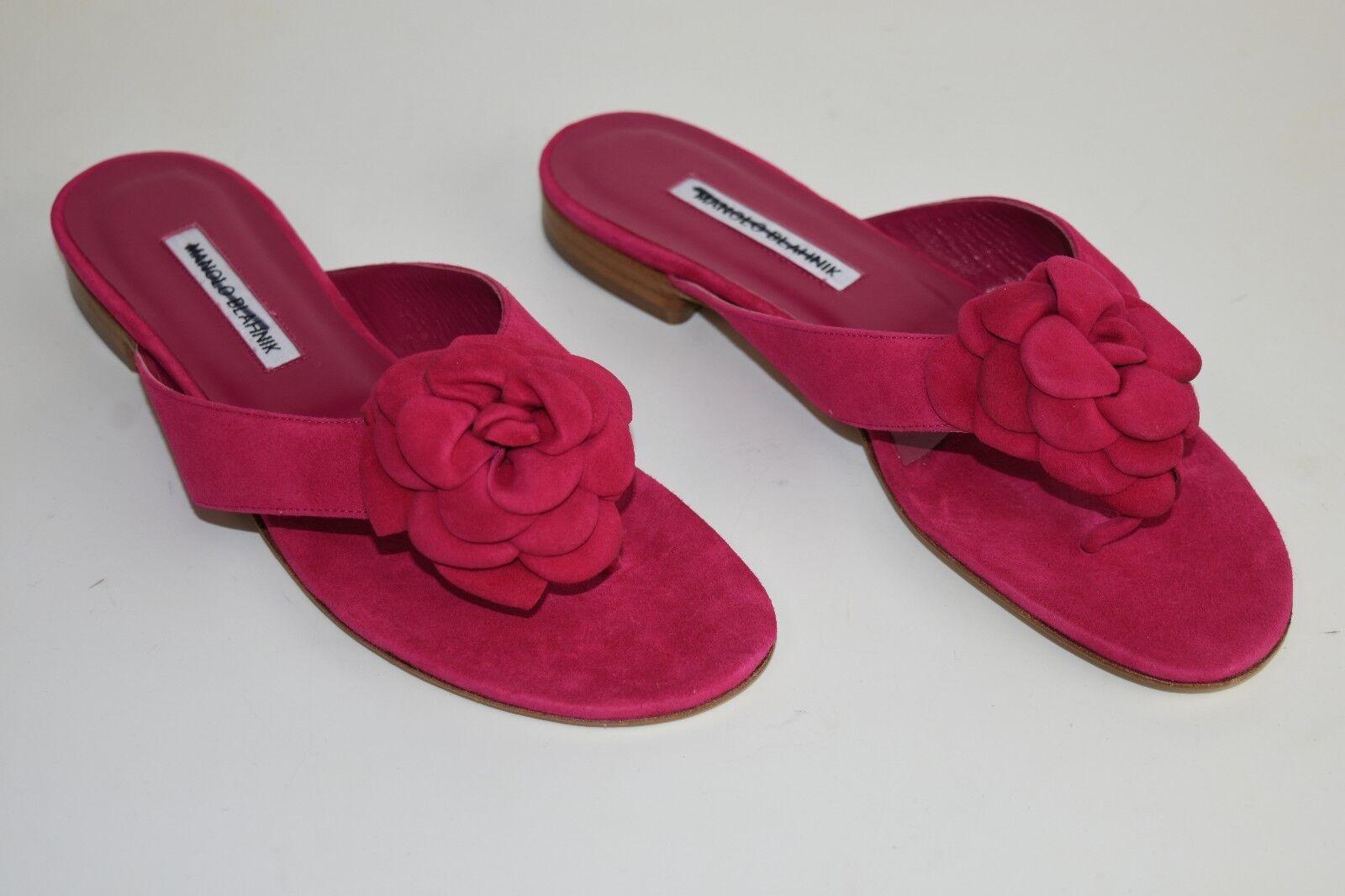 Nuevo Manolo Manolo Manolo Blahnik Petala 3 D rosado De Ante Sandalias Zapatos de diapositivas de Camelia 41 41.5  garantizado