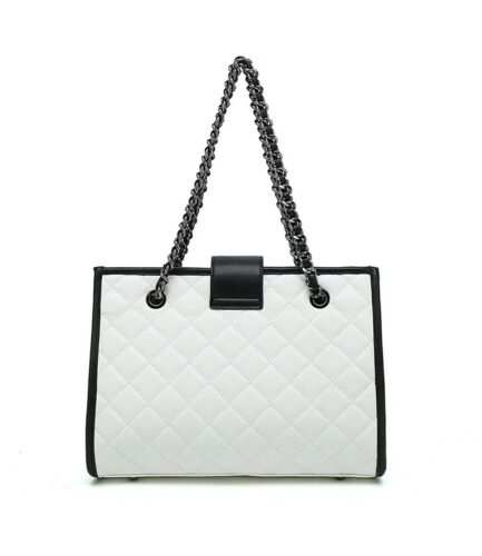 Designer Inspired Quilted Chain Structured Shoulder Bag with central lock