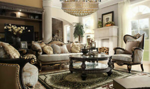 Details about BRITISH COLONIAL STYLE LIVING ROOM SET 3PC.SOFA,LOVE AND  CHAIR/ALICIO COLLECTION