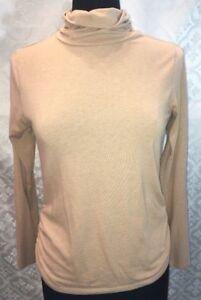 Coldwater-Creek-Mujer-S-Ocho-Marron-Claro-Cuello-Vuelto-Camisa-top-Fruncido