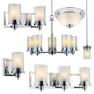 Avalon Polished Chrome Bathroom Vanity Ceiling Lights Chandelier - Bathroom vanity overhead lighting
