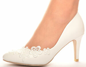 off white wedding shoes new white lace crochet mid heel wedding pumps bridal 6227