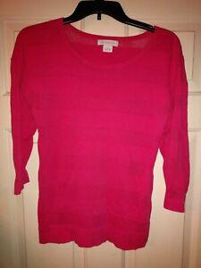 Liz-Claiborne-Womens-Long-Sleeve-Knit-Semi-Sheer-Sz-Small-Pink