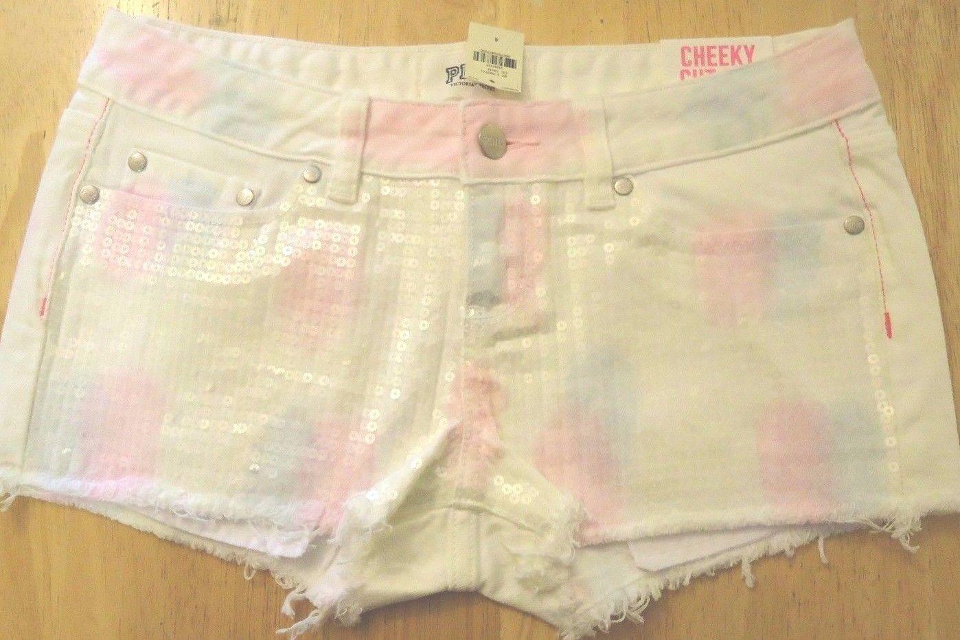Victoria's Secret PINK bling rainbow tye dye sequin Cut Off watercolor shorts 4