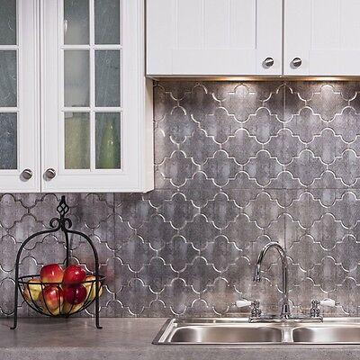 Kitchen Backsplash Silver Decorative Vinyl Panel Wall Tiles Bathroom  Moroccan | eBay