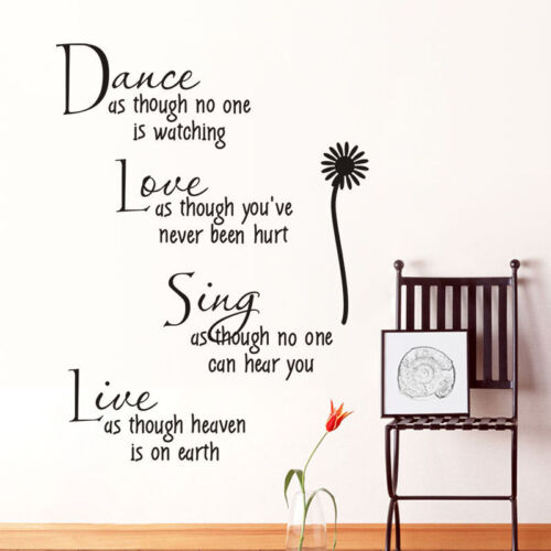 Simple Dance Love Sing Live Theme Wall Quotes Removable Sticker Home Decoration.