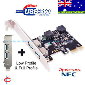 Low-Profile-amp-Full-Profile-USB-3-0-PCI-E-2-Ports-Card-NEC-Chipset-Self-Powered