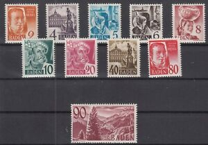 DD8050/ GERMANY – FRENCH BADEN – MI # 28 / 37 COMPLETE MINT MNH
