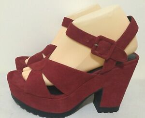 229fe823696 Details about Wittner Women's Size AU 9 / EUR 40 Smoked Red Suede Open Toe  Platform Sandals