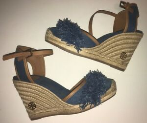 057a3df61 TORY BURCH Shaw Fringe Espadrille Wedge DENIM BLUE size 10 ($250) | eBay