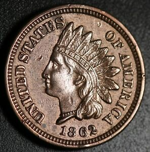 1862-INDIAN-HEAD-CENT-With-LIBERTY-amp-Near-4-DIAMONDS-AU-UNC