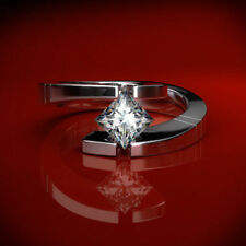 0.60Ct Princess VSS1//D Diamond Solitaire Engagement Ring 14K White Gold Over