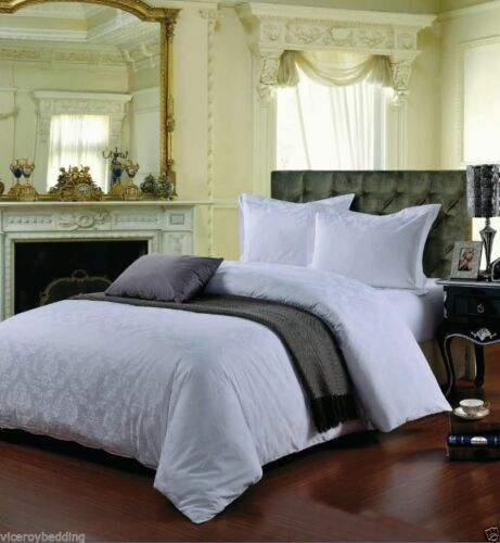 Egyptian Cotton 500 Thread Count Damask Jacquard Duvet Cover Sets Fitted Sheet