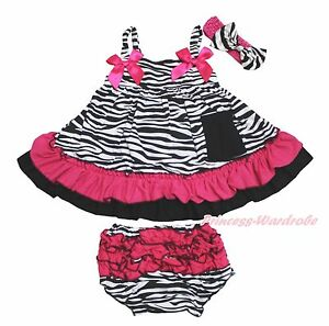 7a413ab9378 Infant Baby Girl Elegant Zebra Hot Pink Swing Top Bloomer Pants ...