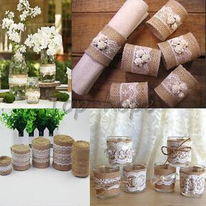 Jute Burlap Hessian Ribbon Lace Trim Rustic Wedding Party Decorations