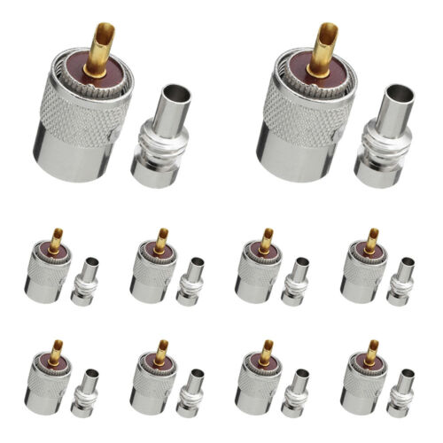 NEW 10 Pack PL259 Solder Connector Plug With Reducer for RG8X Coaxial Coax Cable